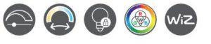 Esta lámpara se puede regular progresiva mediante un regulador ya integrado en la propia bombilla El color de la luz (temperatura en grados Kelvin) se puede ajustar progresivamente. El último ajuste de luz seleccionado se memorizará y se utilizará cuando vuelva a encender la lámpara. Esta lámpara dispone de un cambiador de color RGBW (Rojo, Verde, Azul y blanco) Esta bombilla dispone de tecnología WIZ que permiten configuraciones de iluminación fascinantes e innovadoras, que se pueden gestionar, programar y controlar individualmente.
